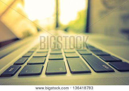 Close up of Computer laptop ( Filtered image processed vintage effect. )