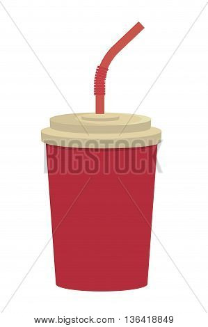 red cup and straw front view over isolated background, vector illustration