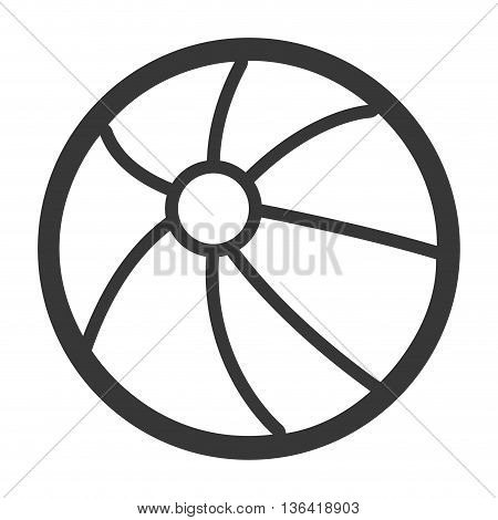 black and white beach ball over isolated background, vector illustration