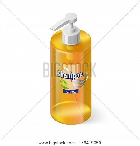 Single Yellow Bottle of Shampoo with Lable in Isometric Style