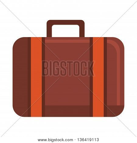 orange and brown travel suitcase front view over isolated background, vector illustration