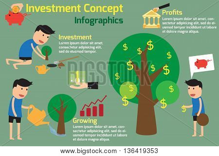 Investment is like planting trees. Investment Concept Infographics. vector illustration.