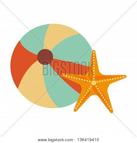 colorful beach ball and orange yellow starfish over isolated background, summer concept, vector illustration
