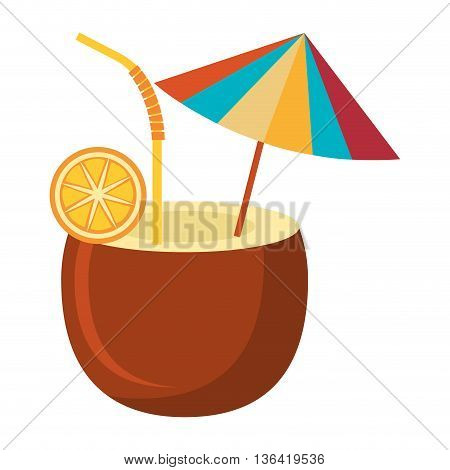 brown coconut with orange slice and colorful beach umbrella over isolated background, summer concept, vector illustration