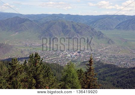 The Small village in valley between mountains.Type overhand