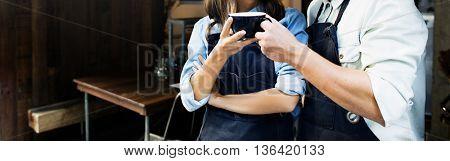 Barista Partner Working Coffee Shop Concept