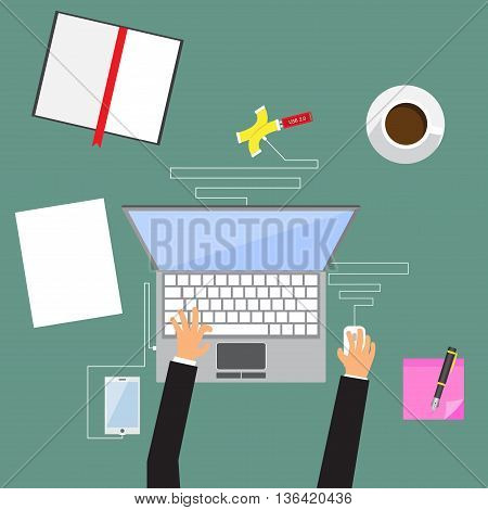 modern flat design illustration on business hands working with laptop and paper documents top view hot coffee vector illustration.