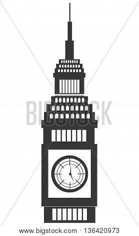 black and white big ben building front view over isolated background, vector illustration