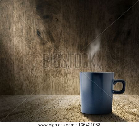 Lighting From Window With Hot Blue Coffee Cup In Hardwood Room With Blur Wood Wall,template Adding C