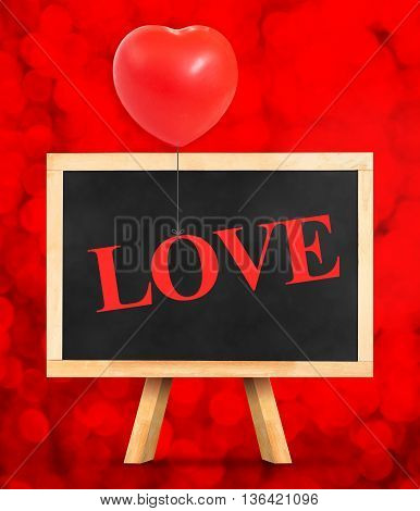 Blackboard With Love Word At Red Bokeh Light Background,love Concept