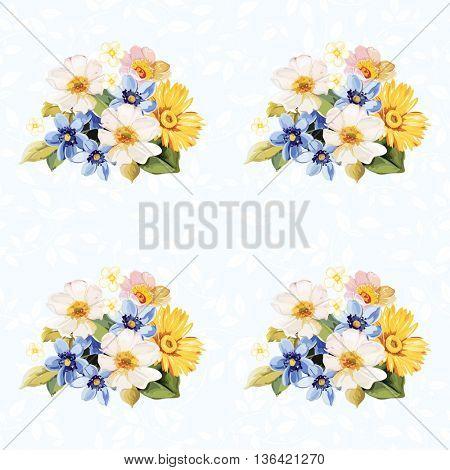 Seamless pattern blue white yellow Vector Illustration EPS8