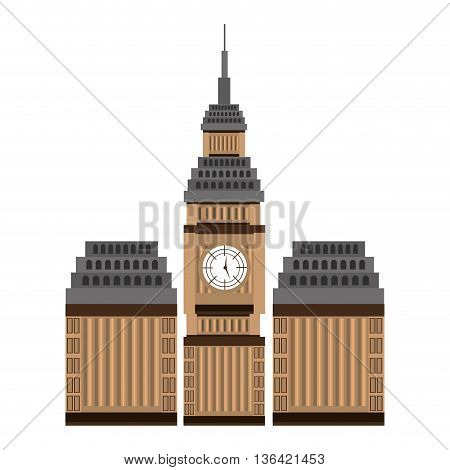 british building and big ben front view over isolated background, vector illustration