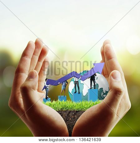 financial symbols coming from a hand