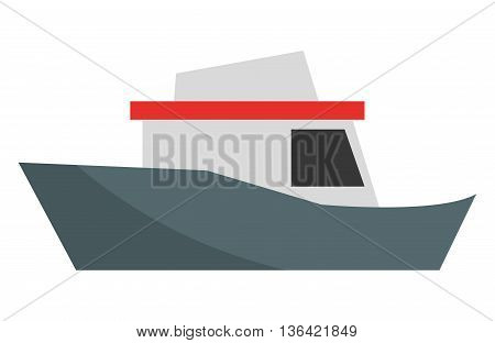 blue grey and red ship side view over isolated background, vector illustration