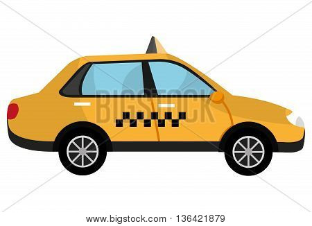 yellow taxi cab car side view over isolated background, vector illustration