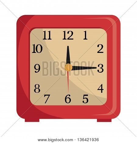 red and yellow table clock front view over isolated background, vector illustration