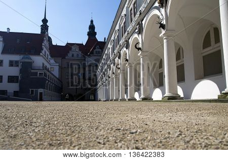 DRESDEN, GERMANY - JUNE 5, 2013:Langer Gang - part of the architectural complex of the Dresden palace-residence