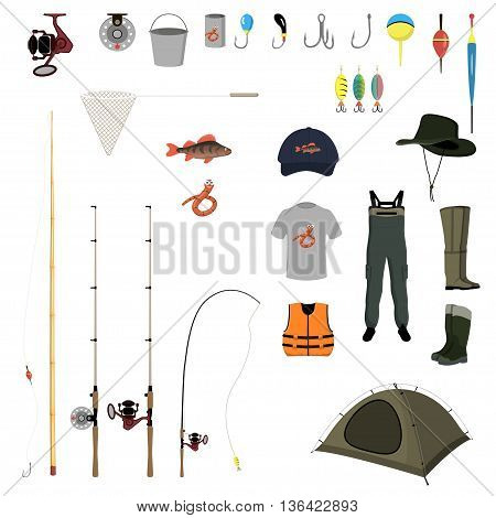 fishing gear on a white background vector illustration