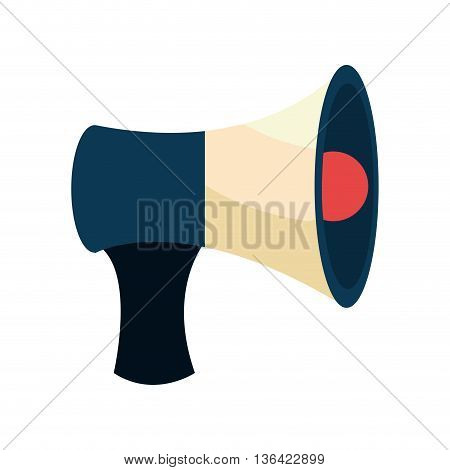 blue white and red speaker side view over isolated background, vector illustration