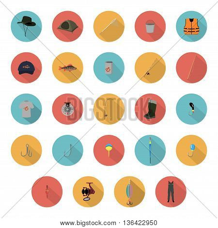flat icons fishing gear on a white background vector illustration