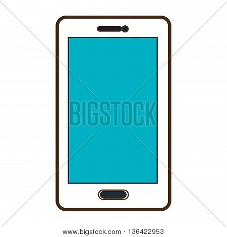 white smartphone with blue screen front view over isolated background, vector illustration