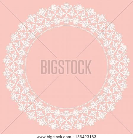 Oriental round frame with arabesques and floral elements. Floral fine white border. Greeting card with place for text
