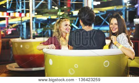 Friends Hangout Carnival Ride Fun Smiling Concept
