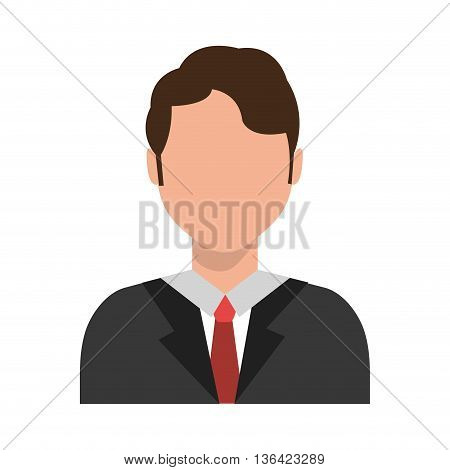 avatar business man wearing colorful clothes front view over isolated background, vector illustration