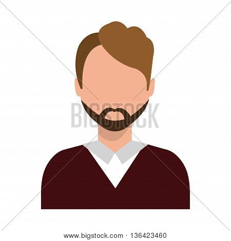 avatar business man with moustache wearing colorful clothes front view over isolated background, vector illustration