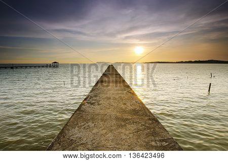 Beautiful Sunrise view at fisherman jetty .
