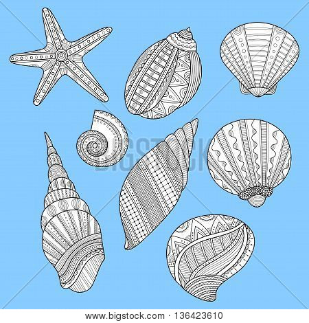 Black and white sea shells for coloring book on blue background. Vector illustration