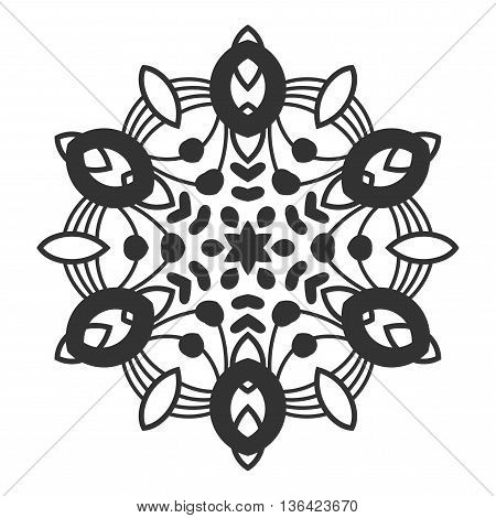 Decorative round ornament. Lace. Silhouette of snowflake isolated on white background. Vector illustration