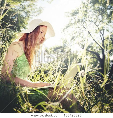 Woman Using Laptop Leisure Activity Nature Park Concept