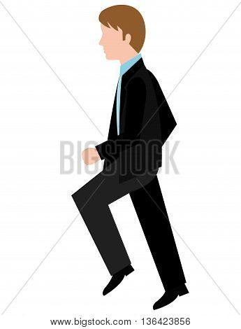 avatar business man walking side view over isolated background, vector illustration