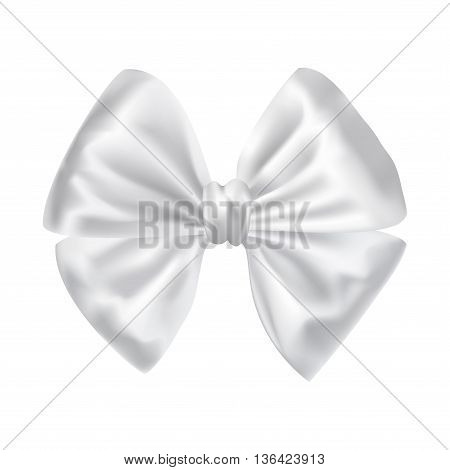 white silky bow ribbon on white background. holidays gift symbol decorative design element. vector