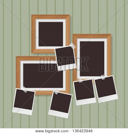 wooden photo frames composition and instant blank photo with tapes. vector
