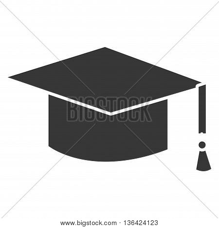 black graduation hat front view over isolated background, vector illustration