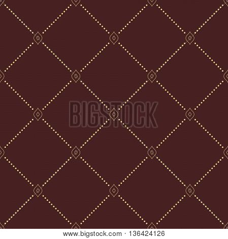 Geometric repeating brown ornament with diagonal golden dotted lines. Seamless abstract modern pattern