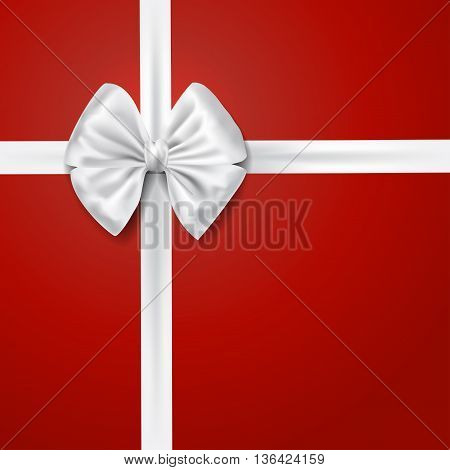 white silky bow ribbon over red background. holidays gift symbol decorative design element. vector