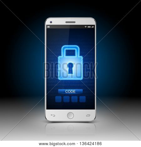 Modern mobile smartphone with closed lock, vector