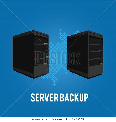 two server backup redundancy mirror for recovery and performance vector illustration