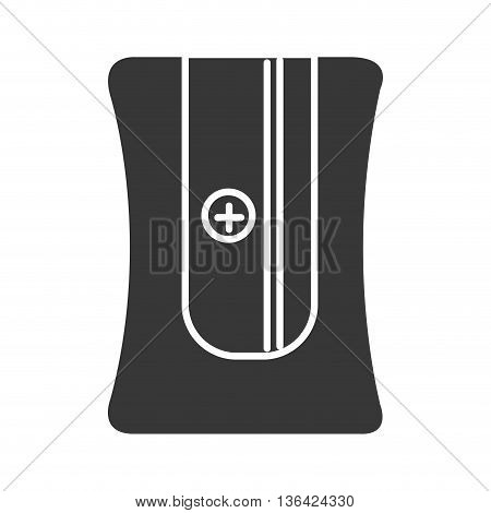 black pencil sharpener front view over isolated background, vector illustration