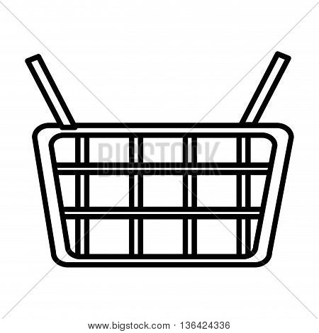 white shopping basket front view over isolated background, vector illustration