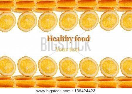 Pattern of repeating stacks of sliced oranges on a white background. Pile of slices of juicy orange. Isolated. Decorative Fruit frame border. Fruit background. Copy space. Concept art.