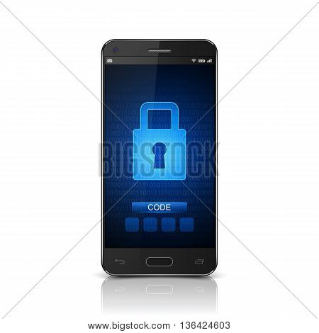 Smartphone with closed lock, Smartphone lock screen. vector