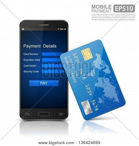 Mobile Payments, Modern mobile smartphone with credit card. vector