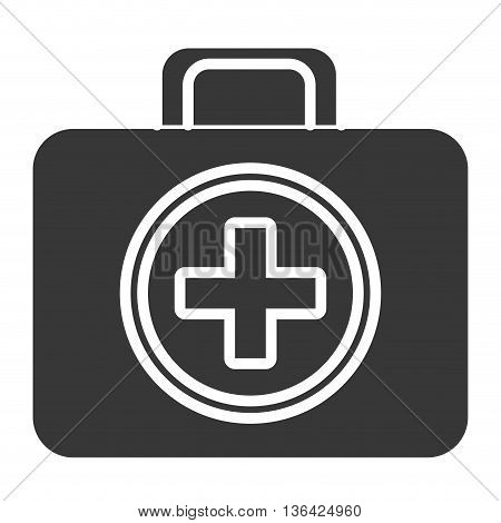 black and white first aid bag box front view over isolated background, vector illustration
