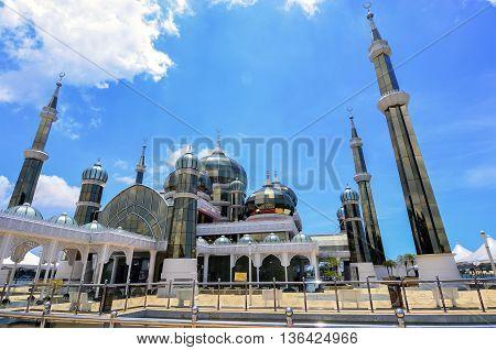 Evening view of crystal mosque in Kuala Terengganu Malaysia