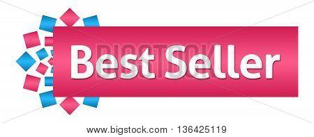 Best seller text written over pink blue background.