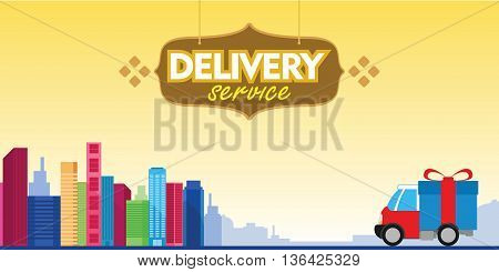 delivery service box car with city background vector illustration